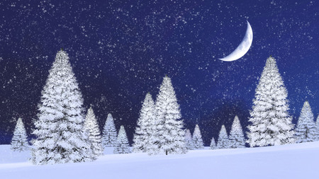 half moon: Fairytale winter scenery with snowy firs among snowdrifts and fantastic big half moon in night sky at snowfall. 3D illustration. Stock Photo