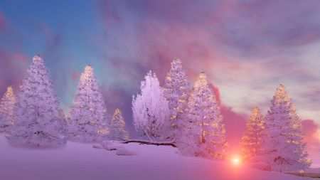Dreamlike winter scenery with snow covered fir tree forest under scenic colorful sunset or sunrise sky. 3D illustration. Stock Photo