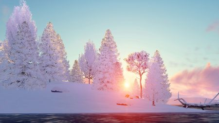 lake sunset: Winter landscape with snowy fir tree forest on shore of frozen lake at scenic sunset or sunrise. 3D illustration. Stock Photo