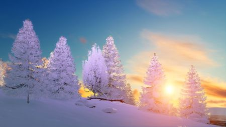 Winter scenery with snow covered fir tree forest among snowdrifts under scenic sunset or sunrise sky. 3D illustration.