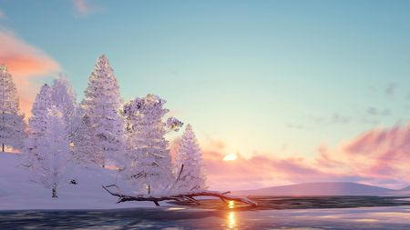 lake sunset: Winter landscape with snowy fir trees among snowdrifts on shore of frozen lake at sunset or sunrise. 3D illustration.