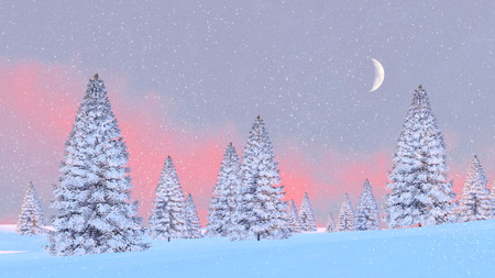 half moon: Winter scenery with snowy firs among snowdrifts and half moon in scenic sunrise or sunset sky at slight snowfall. 3D illustration.