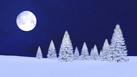 Dreamlike winter landscape with snow covered firs under fantastic big full moon in clear starry night sky. 3D illustration.