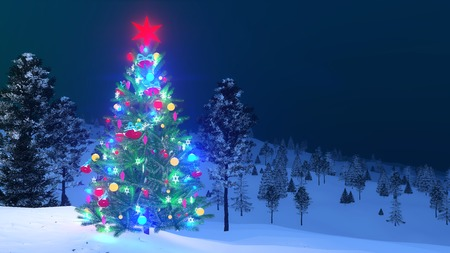 Outdoor Christmas tree decorated with glowing holiday toys and red star on its top among snow covered fir forest at winter night. 3D illustration Stock Photo