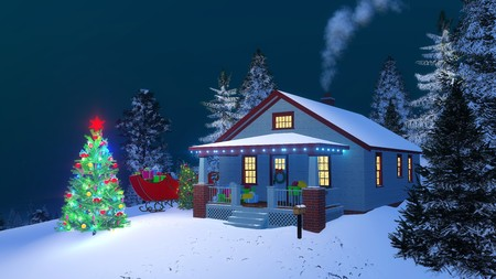 Traditional American house with gift boxes on its porch, christmas lights, smoking chimney and outdoor decorated Christmas tree at magical winter night