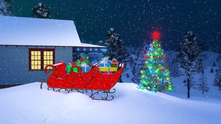 House of Santa Claus decorated for Christmas with Santas sleigh full of gifts and outdoor Christmas tree on foreground among snowy firs at snowfall winter night