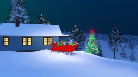 santas house decorated for christmas with santas sleigh full of gifts and illuminated outdoor christmas tree - Outdoor Christmas Sleigh Decorations