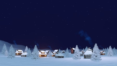Calm rural winter landscape with cozy township covered with snow and snowy firs under clear starry night sky. 3D illustration