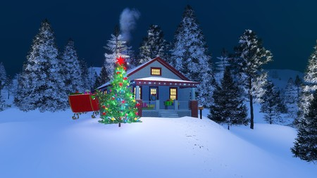 Traditional American cozy house decorated for Christmas among snow covered fir forest at winter night. 3D illustration