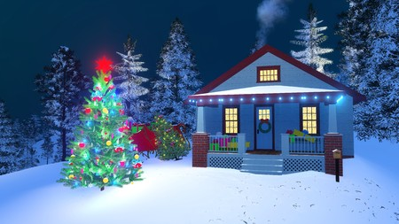 festal: Traditional American house with gift boxes on its porch, christmas lights, smoking chimney and outdoor decorated Christmas tree at winter night. 3D illustration