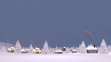 Winter landscape snowbound township with rural houses with smoking chimneys during evening or morning time. 3D illustration