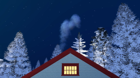 close up chimney: Frontal close up view of a house gable with smoking chimney among snowy firs against starry night sky at winter night. 3D illustration Stock Photo