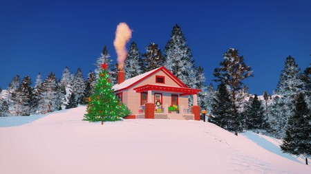 stovepipe: Cozy rural house decorated for Christmas with gift boxes on its porch, smoking chimney and outdoor Christmas tree among snowy fir forest Stock Photo