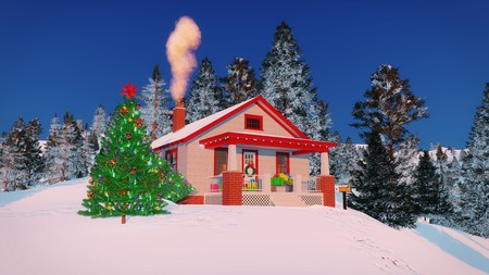 Traditional American house decorated for Christmas with gift boxes on its porch, smoking chimney and outdoor Christmas tree at winter evening or morning
