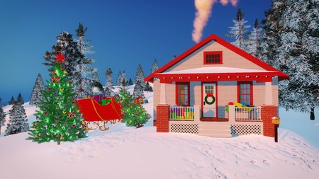 stovepipe: House of Santa Claus with gift boxes on its porch, decorated Christmas tree and Santas sleigh at magical winter evening Stock Photo