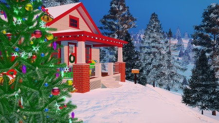 Close up of traditional American cozy house decorated for Christmas with gift boxes on its porch and outdoor Christmas tree among snowy firs at winter evening