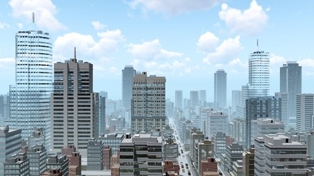 busy city: Abstract big city downtown with modern high rise buildings skyscrapers and busy streets at daytime 3D illustration Stock Photo