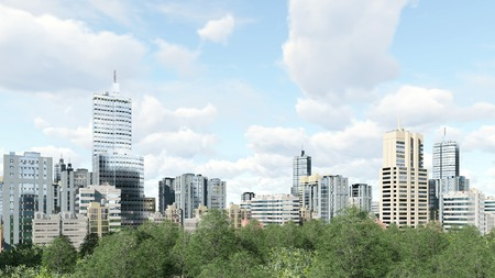 residential zone: Abstract city with modern high rise buildings skyscrapers and green park zone against cloudy sky at daytime 3D illustration