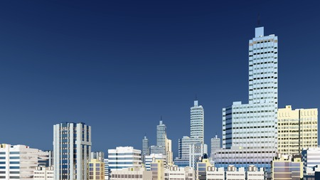 sky rise: Abstract modern high rise buildings skyscrapers at city downtown against clear blue sky background 3D illustration Stock Photo