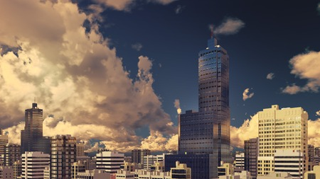 sky rise: Abstract modern high rise buildings skyscrapers at city downtown against evening cloudy sky background 3D illustration Stock Photo