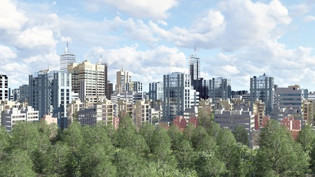 residential zone: Modern big city district with high rise buildings skyscrapers and green park zone against cloudy sky at daytime 3D illustration Stock Photo