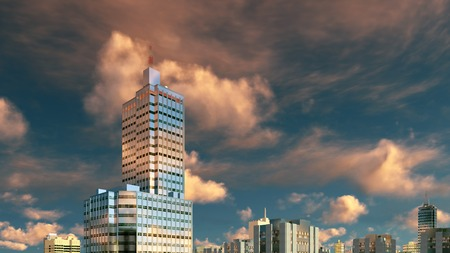sky rise: Abstract modern high rise buildings skyscrapers against scenic cloudy sky at sunset 3D illustration