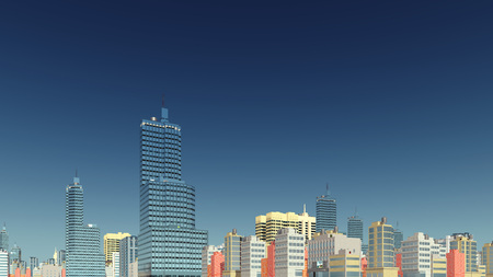 Abstract modern city skyline high rise buildings at downtown against clear blue sky background 3D illustration