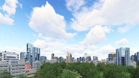 residential zone: Abstract city district with modern high rise buildings skyscrapers and green park zone against cloudy sky at daytime 3D illustration