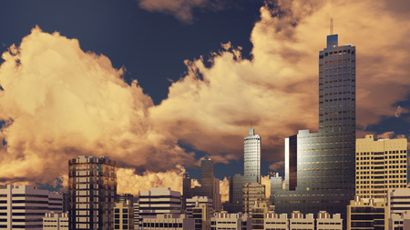 sky rise: Modern high rise buildings skyscrapers at abstract city downtown against cloudy sky background at sunset 3D illustration Stock Photo
