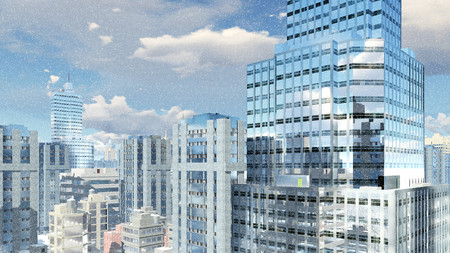 sky rise: Abstract modern high rise office building with reflection on its mirror windows against cloudy sky at slight snowfall 3D illustration