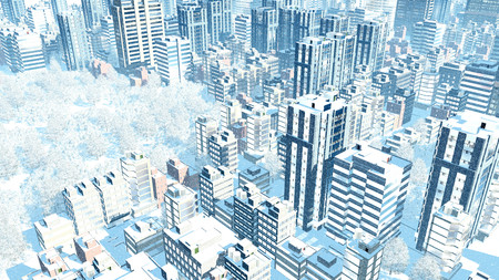 Aerial view of abstract big city downtown with modern high rise buildings and snow covered park at slight snowfall during winter day 3D illustration