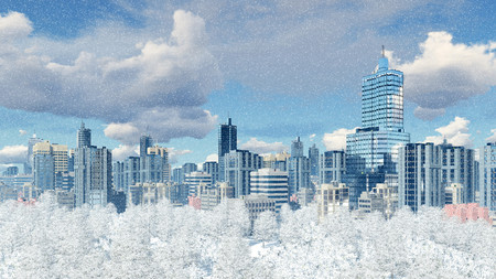 sky rise: Modern big city district with high rise buildings skyscrapers and snow covered winter park against cloudy sky at slight snowfall 3D illustration Stock Photo