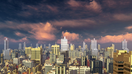 sky rise: Abstract city downtown with modern high rise buildings skyscrapers against scenic cloudy sky at sunset or sunrise 3D illustration
