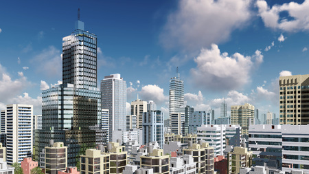 megapolis: Modern high rise buildings skyscrapers in the heart of abstract city downtown against daytime sky with clouds 3D illustration Stock Photo