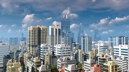 sky rise: Modern high rise buildings skyscrapers at abstract city downtown against cloudy sky at daytime 3D illustration
