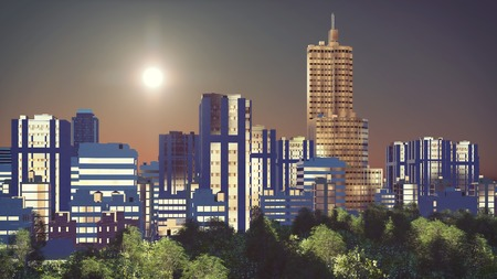 Fantastic big sun over abstract city downtown with modern high rise buildings skyscrapers and park at sunrise or sunset 3D illustration