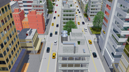 megapolis: Aerial view of street traffic in abstract city downtown with modern high rise buildings in cartoon style at daytime 3D illustration