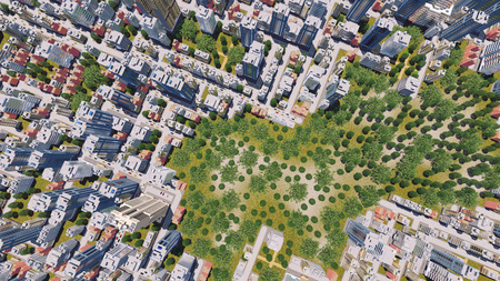 residential zone: Straight overhead aerial view of abstract modern city district residential area with high rise buildings and green park zone 3D illustration Stock Photo