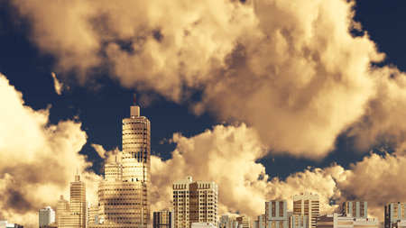 Modern specular city skyline high rise buildings skyscrapers against dramatic cloudy sky background. 3D illustration. Stock Photo