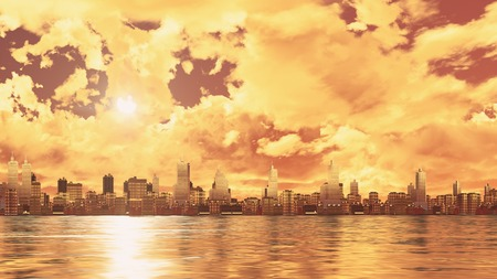 Scenic golden clouds and setting sun over abstract city skyline high rise buildings skyscrapers reflected in water at sunset. 3D illustration.