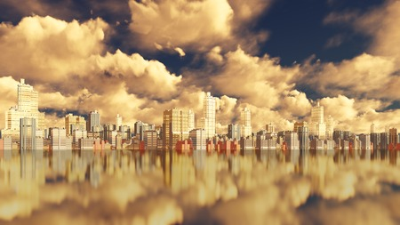 promenade: Scenic view from water on abstract big city downtown with modern high rise buildings skyscrapers against dramatic cloudy sky. 3D illustration. Stock Photo