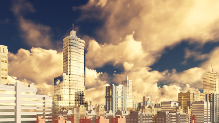 Abstract modern high rise office buildings skyscrapers with reflection on its mirror windows against scenic cloudy sky background. 3D illustration.