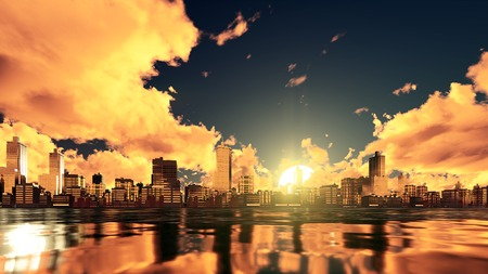 Fantastic big setting sun and dramatic golden clouds over abstract city with high rise buildings skyscrapers reflected in water. 3D illustration.