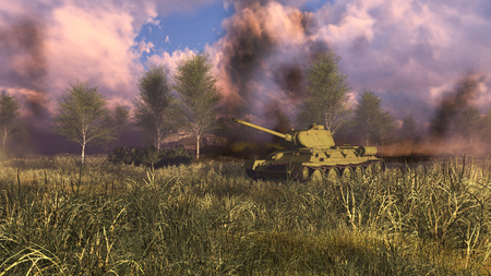 Soviet tank T-34 at WWII battlefield with explosions and smoke on a background. Historical reconstruction of Second World War. 3D illustration.