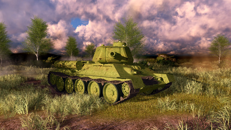 Old soviet tank T 34 take aim at the camera on a battlefield of Second World War. Explosion and smoke on a background. 3D illustration.