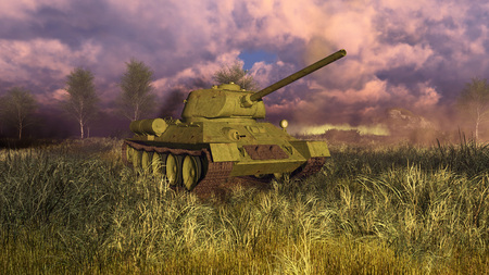 Close up of old soviet tank T 34, primary battle tank of russian army in World War II at battlefield. 3D illustration. Stock Photo