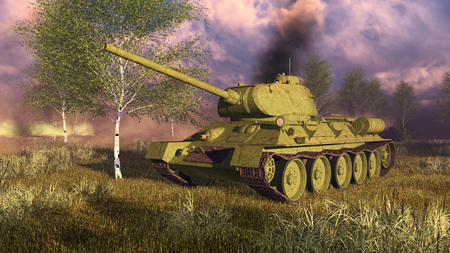 world war 2: Close up of russian tank T-34 on Second World War battlefield. Birches and smoke on a background. 3D illustration. Stock Photo