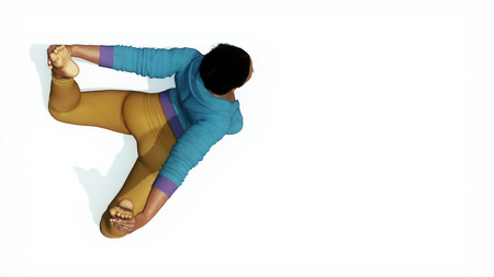 Top view of young adult full size figure african woman practicing yoga in bow pose on copy space white background 3D illustration