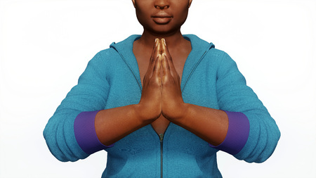 Close up view of young adult full-figured plus size african woman hands in namaste yoga gesture isolated on white background 3D illustration