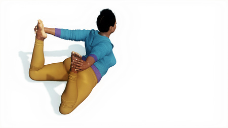 Overhead view of a young adult flexible curvy african woman practicing yoga in a bow pose on copy space white background 3D illustration Stock Photo